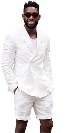 2 Pieces Men\'s White Notch Suit Wedding Suit Groom Tuxedo Suit ...