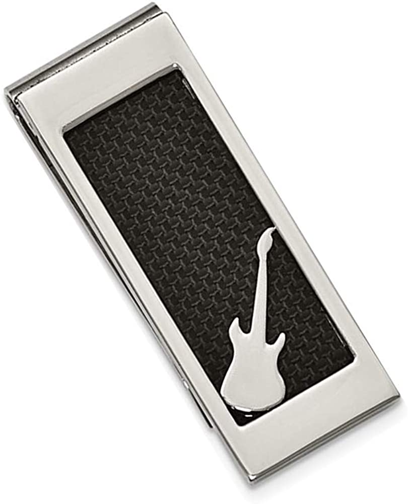 Gem And Harmony Mens Stainless Steel Black Carbon Fiber Money Clip with Guitar
