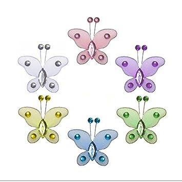 Butterfly Decor 2 Yellow Mini X-Small Glitter Nylon Mesh Butterflies ...