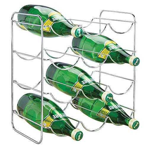 mDesign Metal Free-Standing Water Sports Bottle and Wine Rack Holder Stand for Storage Organizing in Kitchen Cabinet Countertops, Pantry - Holds 12 Bottles - Chrome