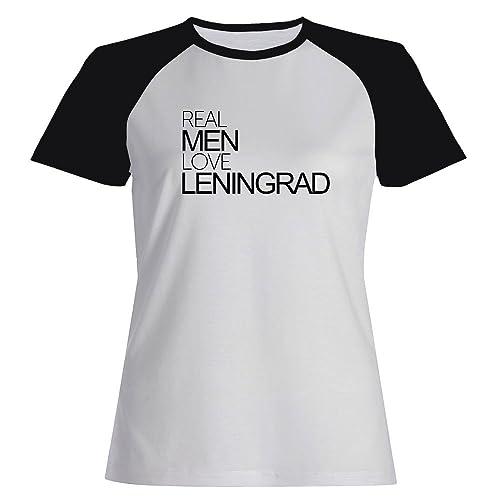 Idakoos Real men love Leningrad - Città del Mondo - Maglietta Raglan Donna