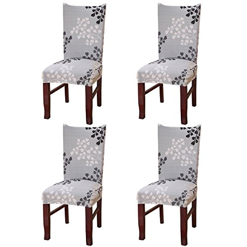 ELEOPTION High Back Chair Cover Replacement For Dining Room, Universal Stretch Elastic Chair Protector Seat Covers for Wedding Party, Living Room, Moving, Hotel, Outdoor Furniture (4, YW-003) (Hotel Outdoor Furniture)