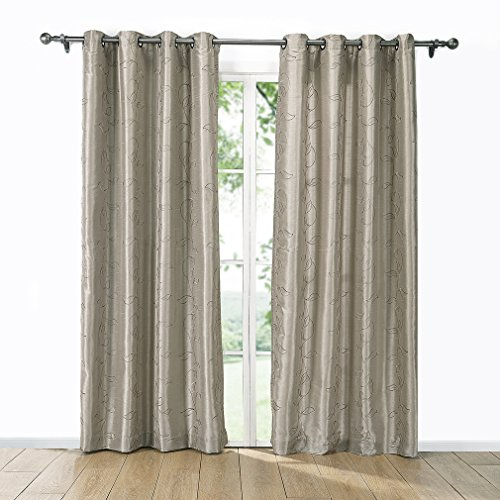 Puredown Embroidered Faux Silk Window Curtains/drape