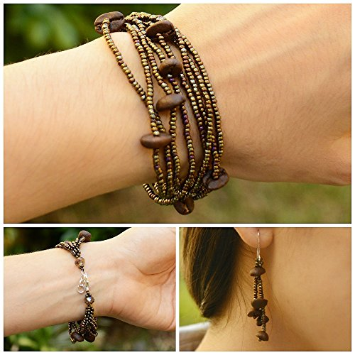 Guatemalan Coffee Bean Bracelet Earrings Set, Handmade Fashion Jewelry Gift -Itzel