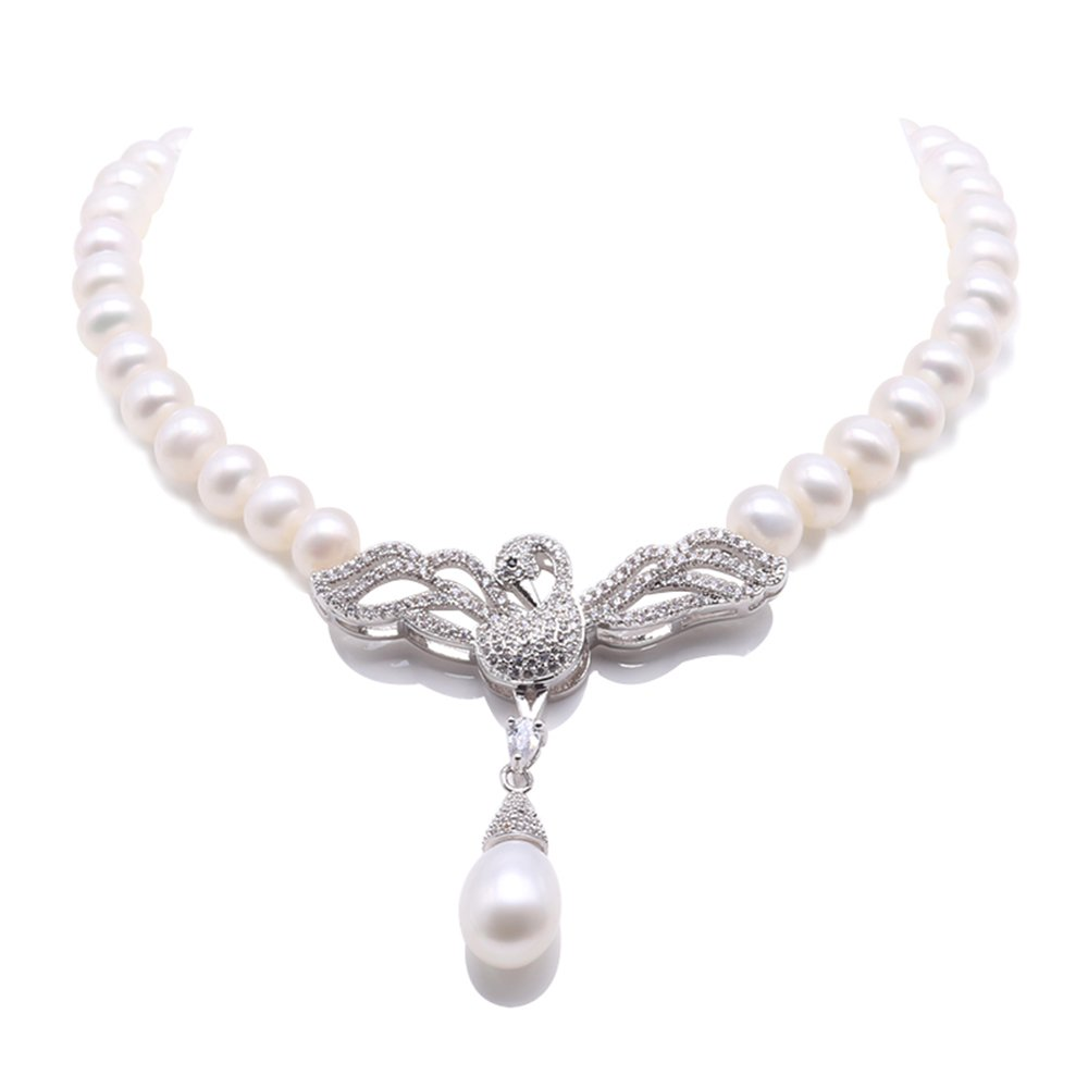 JYX 7-7.5mm White Culured Freshwater Pearl Necklace Swan-style Pendant Necklace 20''