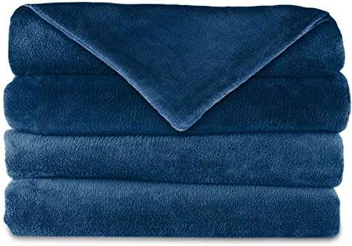 Sunbeam Microplush Electric Heated Warming Throw Blanket Corsair Blue Washable Auto Shut Off 3 Heat Settings