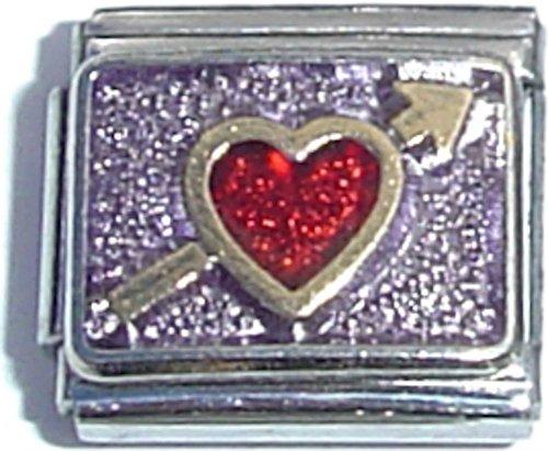 Red Heart On Purple Italian (Red Shoe Italian Charm)