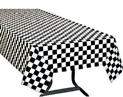Sunflower Day Black & White Checkered Flag Table Cover Party Favor 1 (Checkered Flag Tablecloth)