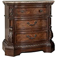 Ashley B705-93 Ledelle Three Drawer Nightstand with Plywood Drawers and English Dovetail Drawer Construction in Dark