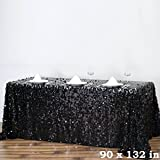 BalsaCircle 90-Inch x 132-Inch Black Big Payette Sequin Tablecloth Table Linens Wedding Party Events Decorations Kitchen Dining