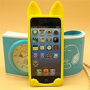 BlueKid Orejas de Gato lindo, silicona suave funda (iPhone 6S Plus iPhone 6S iPhone 6 iPhone 6 Plus iPhone 5C iPhone 5/5S iPhone 4/4S )(iPhone 6 Plus/5.5,Amarillo)