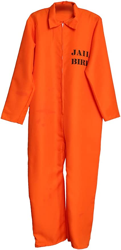 MENS ORANGE PRISONER OVERALL JUMPSUIT CONVICT STAG DO PARTY COSTUME FANCY DRESS