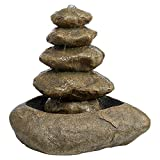 Cheap Water Fountain with LED Light – Trail Marker Garden Decor Stacked Rock Fountain – Outdoor Water Feature