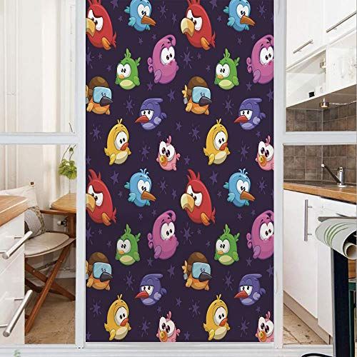 Decorative Window Film,No Glue Frosted Privacy Film,Stained Glass Door Film,Angry Flying Birds Figure with Various Expressions Game Toy Kids Babyish Artsy Image,for Home & Office,23.6In. by 59In Multi