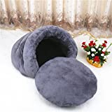 Weare Home Thickened Coral Velvet Mongolian Yurts Pet Bed for Cats or Little Dogs with Warm Plush Pad.(19.6 x 21.6 x 14 inch)