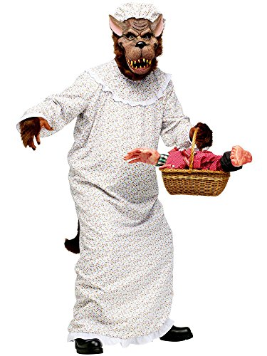 Granny Costume Accessories (Fun World Mens Big Bad Granny Wolf Halloween Party Costume Set White O/S)