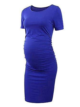 06e79de0195 BeautyGO Femme Robe Moulante Plissée Décontractée Robe Grossesse et  Maternité en Col Rond Manches Courtes (