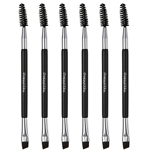 CCbeauty 6-Packs Double Ended Spoolie and Angled Eyebrow Brushes Set Makup Eyebrow Kit and Eyebrow Comb for Application of Brow Powders Waxes Gels and Blends - Double Brow