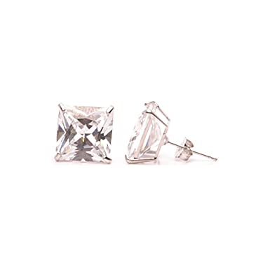 223773455f244 14K Real White Gold Square Stud Earrings