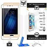 TheGiftKart™ SUPER Value Combo for Meizu M3S (Combo of 1 Tempered Glass + 1 OTG Adapter + 1 Audio Splitter + 1 Mobile Stand) - TheGiftKart™ Edge-To-Edge Ultra Premium HD Curved Full Screen Tempered Glass Screen Protector (Golden) (Complete Screen Coverage & Precise Cut-outs for Camera & Sensors) + Audio Splitter + OTG Adapter + Multi-Angle Adjustable Sleek Mobile Stand