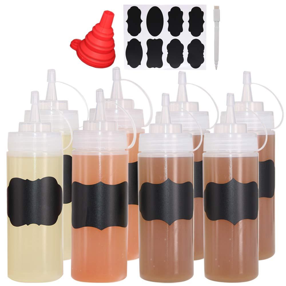 Benail 8 Pack 12 oz Plastic Squeeze Squirt Condiment Bottles Twist On Cap Lids - Perfect Condiments, Oil, Icing, Liquids-Set of 8 Extra 1 Silicone Funnel, 8 Chalk Labels 1 Pen by Benail