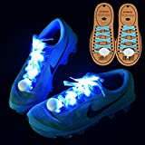 DAWAY Z02 LED Light Up Shoelaces - Nylon Glow Shoes Laces with Three Flashing Modes Cool Safety Accessories for Dancing Hip-hop Cycling Running Best Christmas Gifts(Blue)