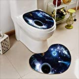 Analisahome Heart shaped foot pad 2 Pieces Set The two planets solar system deep in the galaxy in Bathroom toilet Mats