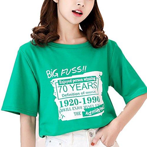 [XINXIKEJI]夏服 レディース プリントTシャツ ボトムシャツ レディース tシャツ ゆったり 丸首 インナー ロックtシャツ ガールズ 学生Tシャツ 英語柄 無地 半袖 修身 カジュアル シャツ ゴルフウェア 観光 通勤 通学 日常用