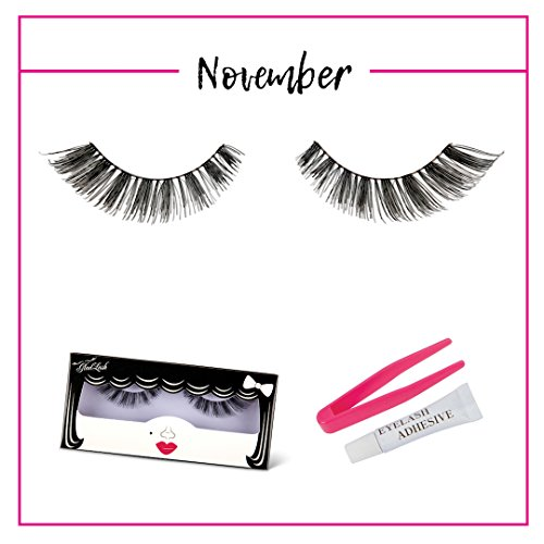 GladGirl | 'November' Strip Lash Kit | 100% Natural Human Hair Lashes on Invisible Band | Wispy-Style Falsies | Handmade & Cruelty-Free | Reusable False Lashes with Lash Adhesive & Applicator Included