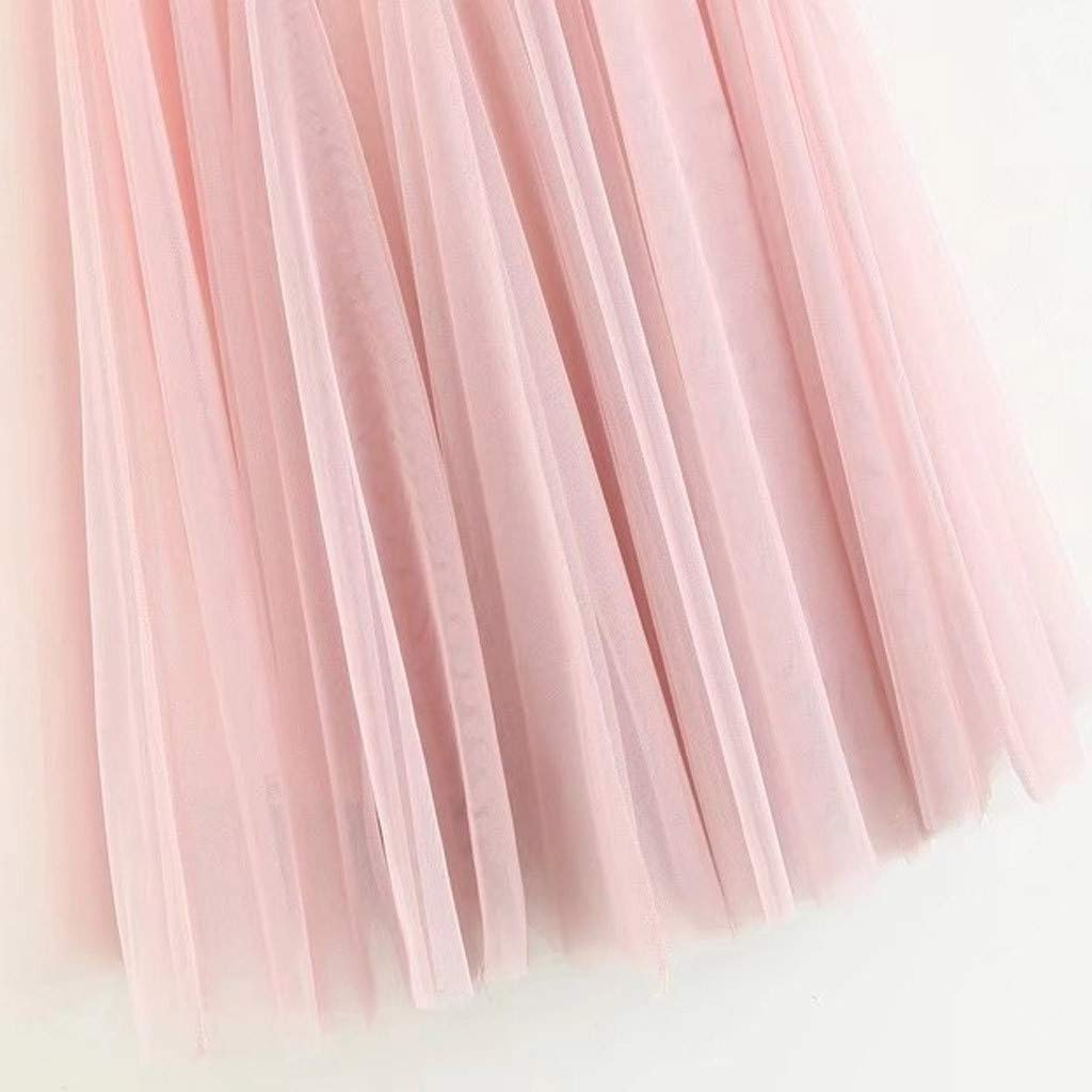 LISTHA Pleated Tulle Midi Skirt Women Girls Big Swing High Waist Long Tutu Skirt