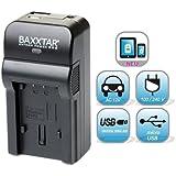 Baxxtar RAZER 600 II 5en1 chargeur pour Panasonic VW VBT190 VBT380 VBK180 VBK360 - avec entrée USB Micro et sortie USB, pour la charge simultanée d'un troisième dispositif (Tablette, Smartphone...)