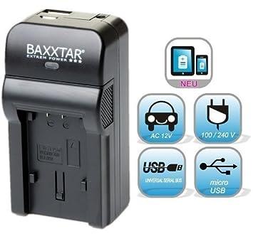 Baxxtar RAZER 600 cargador de 5 en 1 para Panasonic VW VBK180 VBK360 VBT190 VBT380 --- (70% más de potencia 100% mayor flexibilidad) NOVEDAD con Micro USB de entrada y salida USB, para la carga simultánea de un tercer dispositivo (iPhone, Ta