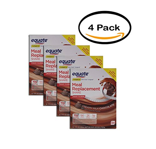 Price comparison product image PACK OF 4 - Equate Creamy Milk Chocolate Meal Replacement Shake,  12 ct