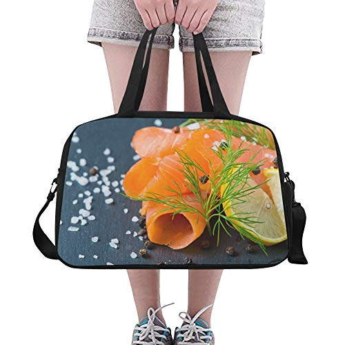 (Fresh And Juicy Salmon Large Yoga Gym Totes Fitness Handbags Travel Duffel Bags Shoulder Strap Shoe Pouch For Exercise Sport Luggage For Girl Men Womens Outdoor)
