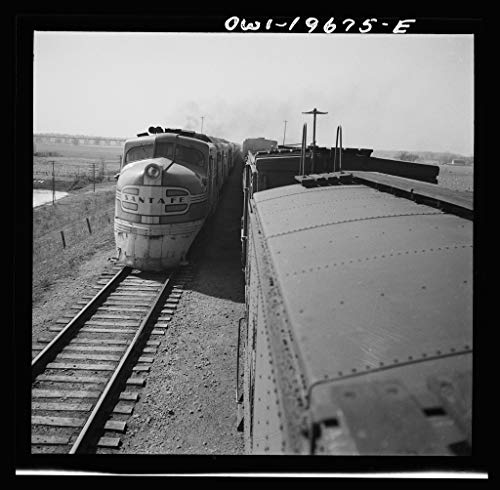 Vintography Reproduced Photo of Sibley, Missouri. Passing one of The Diesel Passenger locomotives of The Atchison, Topeka, and Santa Fe Railroad 1943 Delano C Jack 29a -