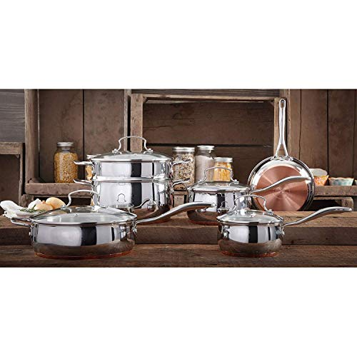 Copper Stainless Encapsulated Bottom - The Pioneer Woman Copper Charm 10-Piece Stainless Steel Copper Bottom Cookware Set
