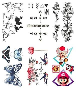 Oottati 6 Hojas Pequeño Lindo Tatuaje Temporal Tattoo Mapa Del ...