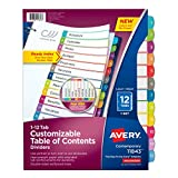 Avery Customizable Table of Contents Dividers, 12-Tab Set (11843)