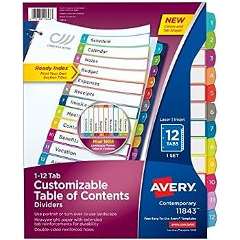 Amazon Avery Big Tab Insertable Dividers Buff Paper 8 Tab