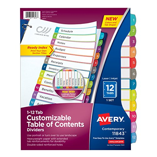 Avery Customizable Table of Contents Dividers, 12-Tab Set (Avery Divider Tabs)
