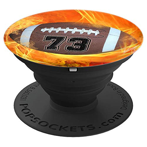 """American Football Number """"73"""" Lucky Number Flame - Football - PopSockets Grip and Stand for Phones and Tablets -  American Football Number 73 Phone Pop Art Gift, 260027"""