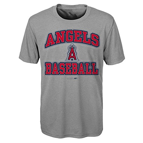 OuterStuff MLB Youth Boys 8-20 Angels Short sleeve Grey performance Tee, M(10-12), Heather (Mlb Shirt)