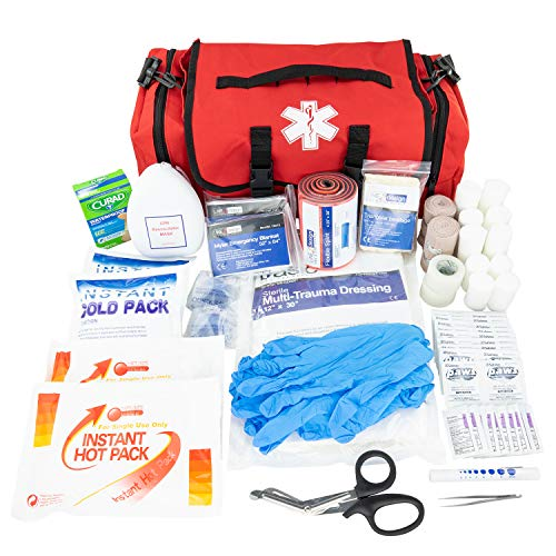 - LINE2design Emergency Fire First Responder Kit - Fully Stocked First Aid Rescue Trauma Bag - Professional Lifeguard EMS EMT Paramedic Complete Medical Supplies for Natural Disasters - Red