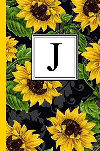 J: Floral Letter J Monogram personalized Journal, Black & Yellow Sunflower pattern Monogrammed Notebook, Lined 6x9 inch College Ruled 120 page perfect bound Glossy Soft Cover]()