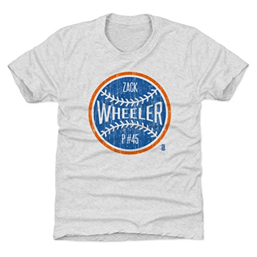 New York Baseball Youth Shirt - Kids Large (10-12Y) Tri Ash - Zack Wheeler New York Ball B