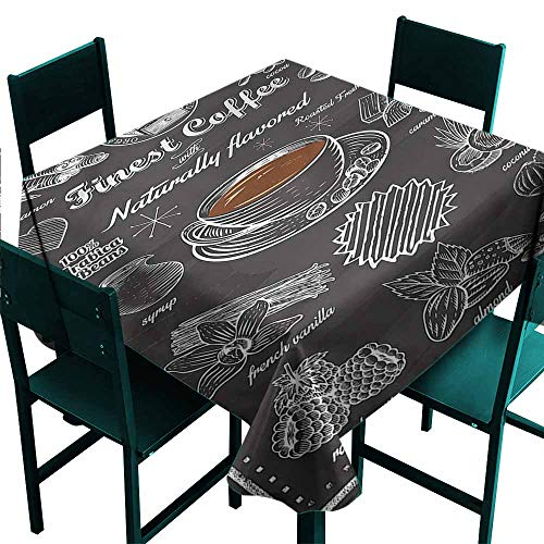 DONEECKL Square Tablecloth Coffee Cafe Icons Nuts and Drinks Excellent Durability W50 xL50