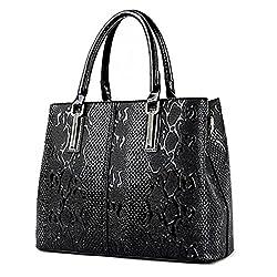 Newpu Leather Women Bag Ladies Luxury Snake Shoulder Bags Designer Handbags Spring Ladies Tote Bag Black 32cm