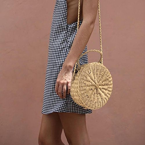 Gift Clasp for Lamptti Women Woven with Handmade Straw Handwoven Suitable Bag Shoulder Rattan Cross Round Beach Snap Bag Body q61qFUw