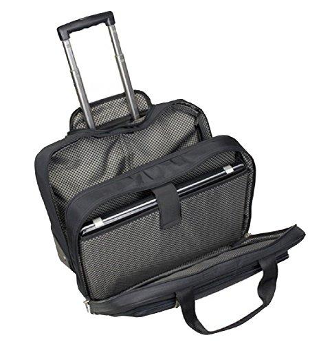 Business–Trolley-Koffer, ausziehbarer Griff, Laptopfach, strapazierfähiges Polyester schwarz, excl. Marke EuroStyle