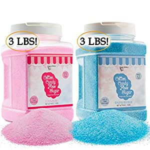 The Candery Cotton Candy Floss Sugar (2-Pack) | Raspberry Blue and Strawberry | Plastic, Reusable Jars | Easy Pour Spout or Scoop | Includes Scooper | 3 LBS Jars